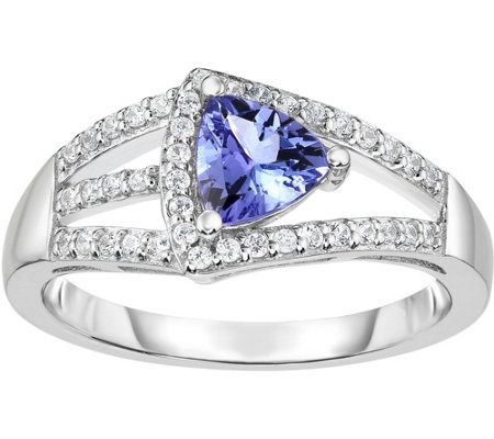 1.00 cttw Tanzanite & White Ziron Ring, 14K Gold