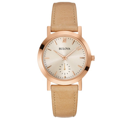 Bulova Women's Beige Leather Strap Watch
