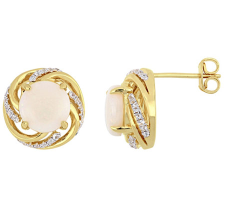 Sterling & 14K Gold 2.80-ct Opal & White TopazStud Earrings