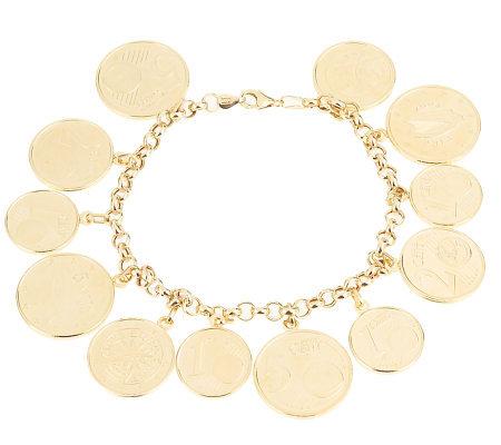 7 1 4 Euro Coin Charm Bracelet 14k Gold
