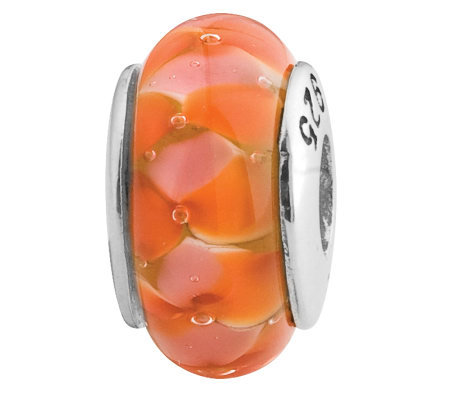 Prerogatives Sterling Orange Flower Glass Bead