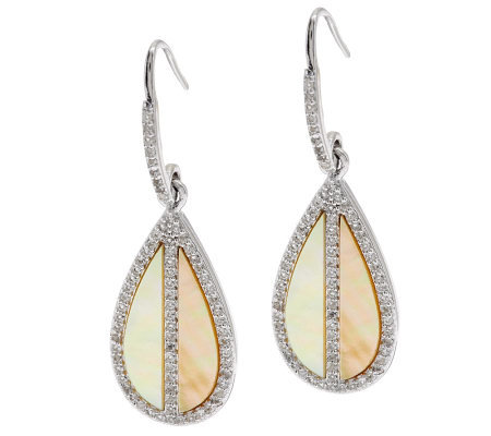 Golden Mother-of-Pearl & White Topaz Sterling Earrings