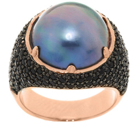 Bronze Cultured Mabe Pearl & 1.35 cttw Black Spinel Ring by Bronzo Italia