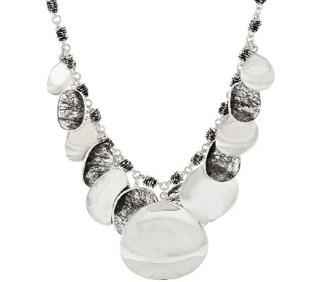 Michael Dawkins Sterling High Polished Petal & Tourmalinated Quartz Necklace