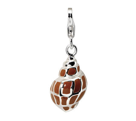 Amore La Vita Sterling Dimensional Brown Seashell Charm
