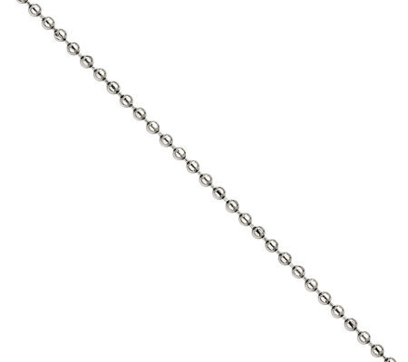 "Stainless Steel 24"" 2.0mm Polished Bead Chain Necklace"