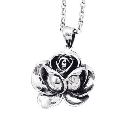 "Stainless Steel Flower Pendant with 24"" Chain"