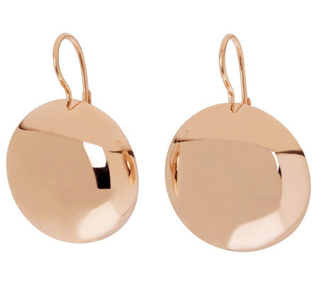 Bronzo Italia Polished Round Disc Lever Back Earrings