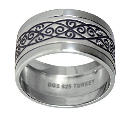 Sterling 10mm Wrought Iron Design Band Ring