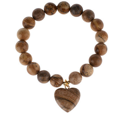 Lee Sands Picture Jasper Heart Stretch Bracelet