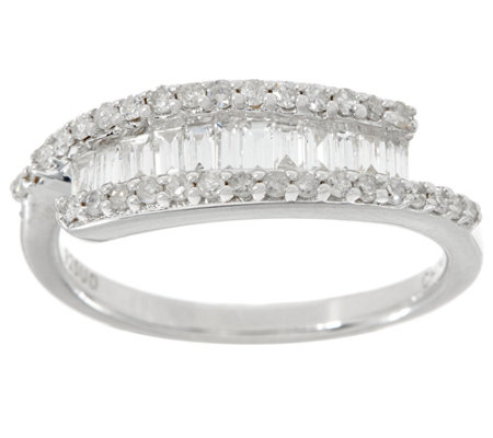 Baguette & Round Diamond Ring, Sterling, 1/2 cttw, by Affinity