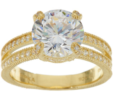 Judith Ripka 14K Clad 6.00 cttw. Diamonique Solitaire Ring