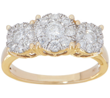 Diamond Three Stone Cluster Ring, 1.00 cttw, 14K, by Affinity