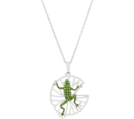 Sterling 0.65 cttw Chrome Dioside Frog Pendant on Chain