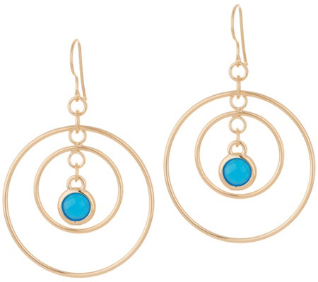 Bronzo Italia Dangle Gemstone Concentric Circles Bronze Earrings