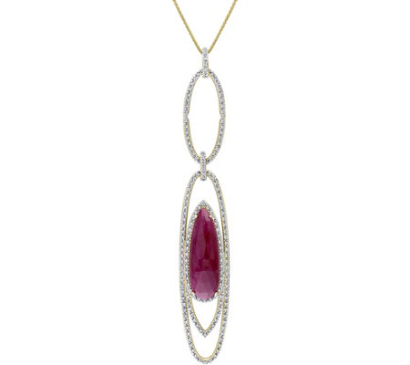 14K 11.60 cttw Ruby & 8/10 cttw Diamond Pendantwith Chain