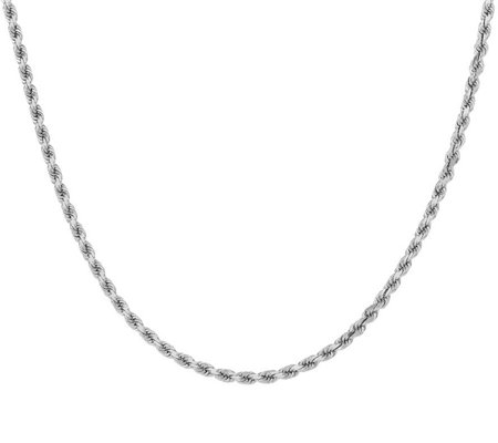 "14K White Gold Diamond-Cut 22"" Rope Necklace, 28.6g"