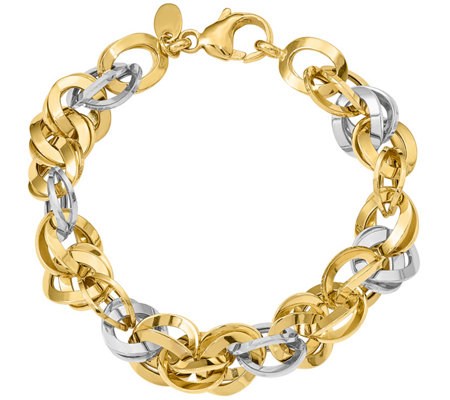 14K Two-tone Double Round Fancy Link Bracelet,11.1g