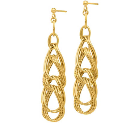 14K Gold Knotted Dangle Post Earrings