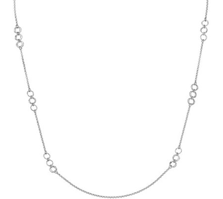 "Italian Silver Circles 32"" Necklace Sterling, 8.8g"
