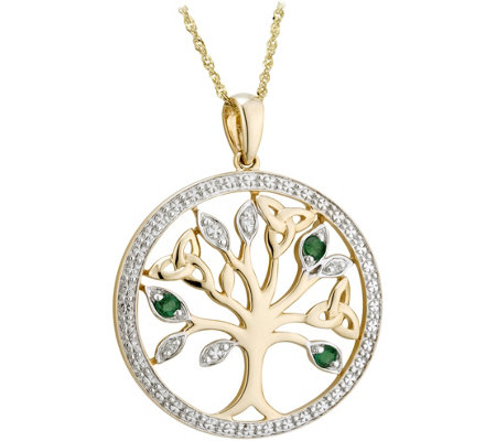 Solvar 14K Diamond & Emerald Accent Tree of Life Pendant