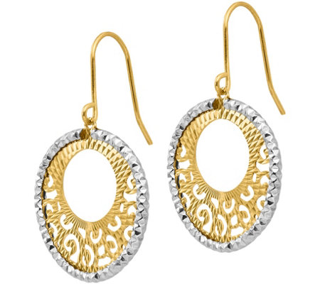 Italian Gold Two-Tone Dangle Sunburst Earrings,14K