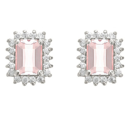 14K Gold 1.40 cttw Emerald-Cut Morganite Halo Stud Earrings
