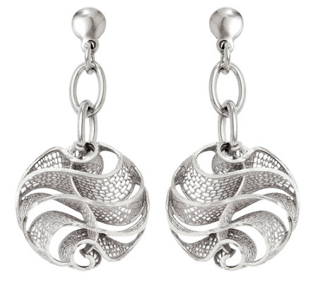 Italian Silver Free Form Mesh Dangle Earrings