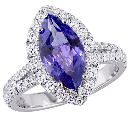 18K Gold 2.25 cttw Marquise Tanzanite & 9/10 cttw Diamond Ring