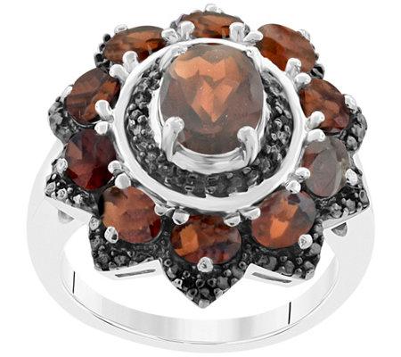 Sterling 3 85 Cttw Garnet Black Spinel Ring