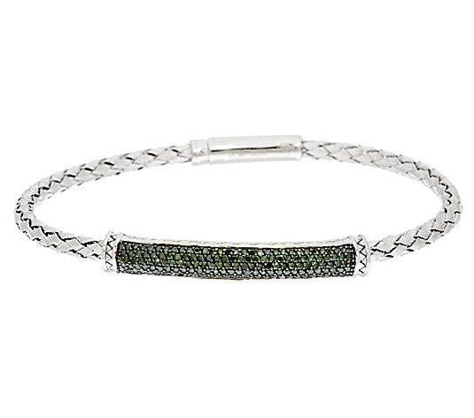 Affinity 5/8 cttw Woven Green Diamond Bracelet,Sterling