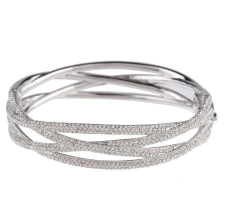 Nadri Micro Pave Criss Cross Hinged Bangle Bracelet