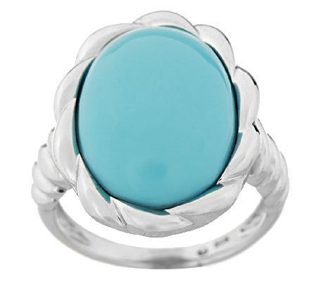 Sleeping Beauty Turquoise Sterling Twist Design Ring