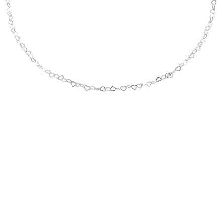 "UltraFine Silver 20"" Heart Link Necklace, 3.1g"