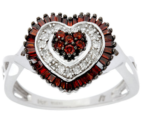 Red & White Diamond Heart Ring, Sterling, 1/2 cttw, by Affinity