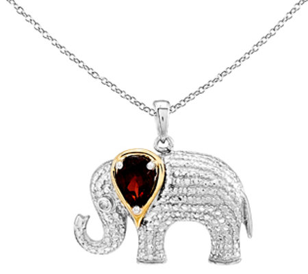 Sterling & 14K Garnet & Diamond Elephant Pendant w/Chain