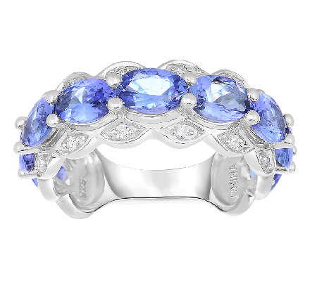 3.00cttw Tanzanite & Scalloped Band Ring, Sterling