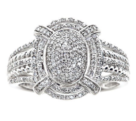 Oval Halo Diamond Ring, 1/4cttw, 14K White Gold, by Affinity