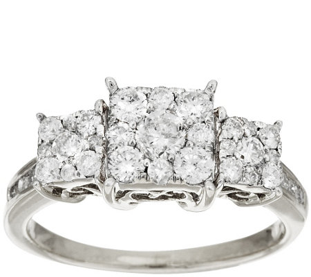 3-Stone Cluster Princess Shaped Diamond Ring, 14K by Affinity