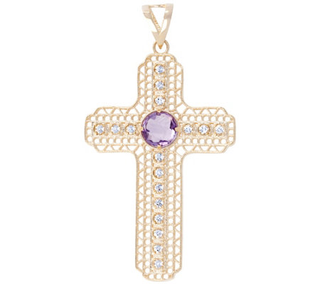 Arte d'Oro Gemstone Cross Pendant, 18K