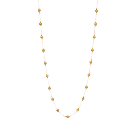 """As Is"" Italian Gold 36"" Polished Bead Necklace 14K Gold, 2.5g"