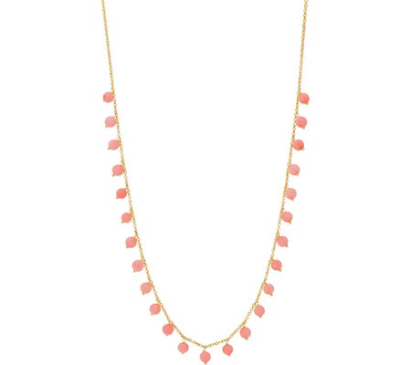 Italian Gold Adjustable Coral Bead Necklace, 14K