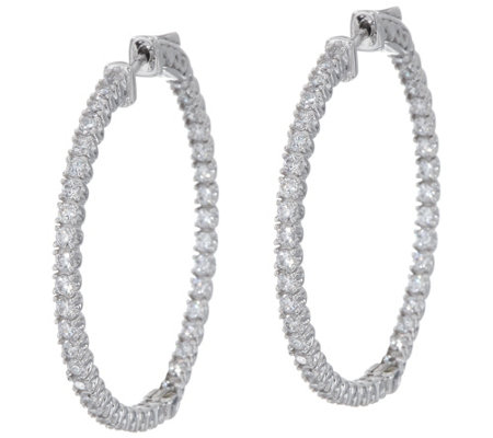 "Diamonique 1 1/4"" Inside Out Hoop Earrings, Sterling"