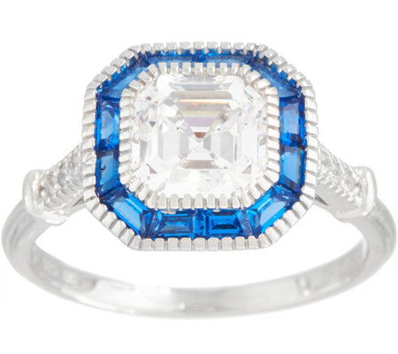 Diamonique and Simulated Sapphire Deco Style Ring Sterling