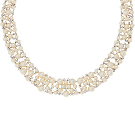 Grace Kelly Collection Simulated Pearl Bib Necklace