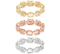 Sterling Silver Tri-Color Set of 3 Flower Rings by Silver Style - J355947