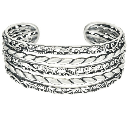 """As Is"" Carolyn Pollack Sterl. Silver Signature Multi Row Cuff, 35.0g"