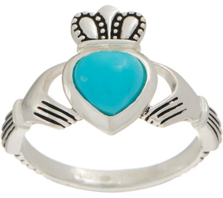 As Is Jmh Jewellery Sleeping Beauty Turquoise Sterl Claddagh Ring