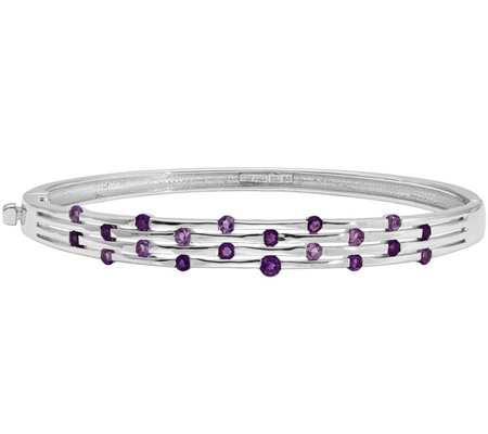 Sterling Gemstone Hinged Bangle