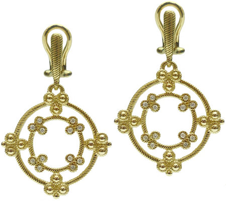 Judith Ripka 14K Gold & Diamond Earrings